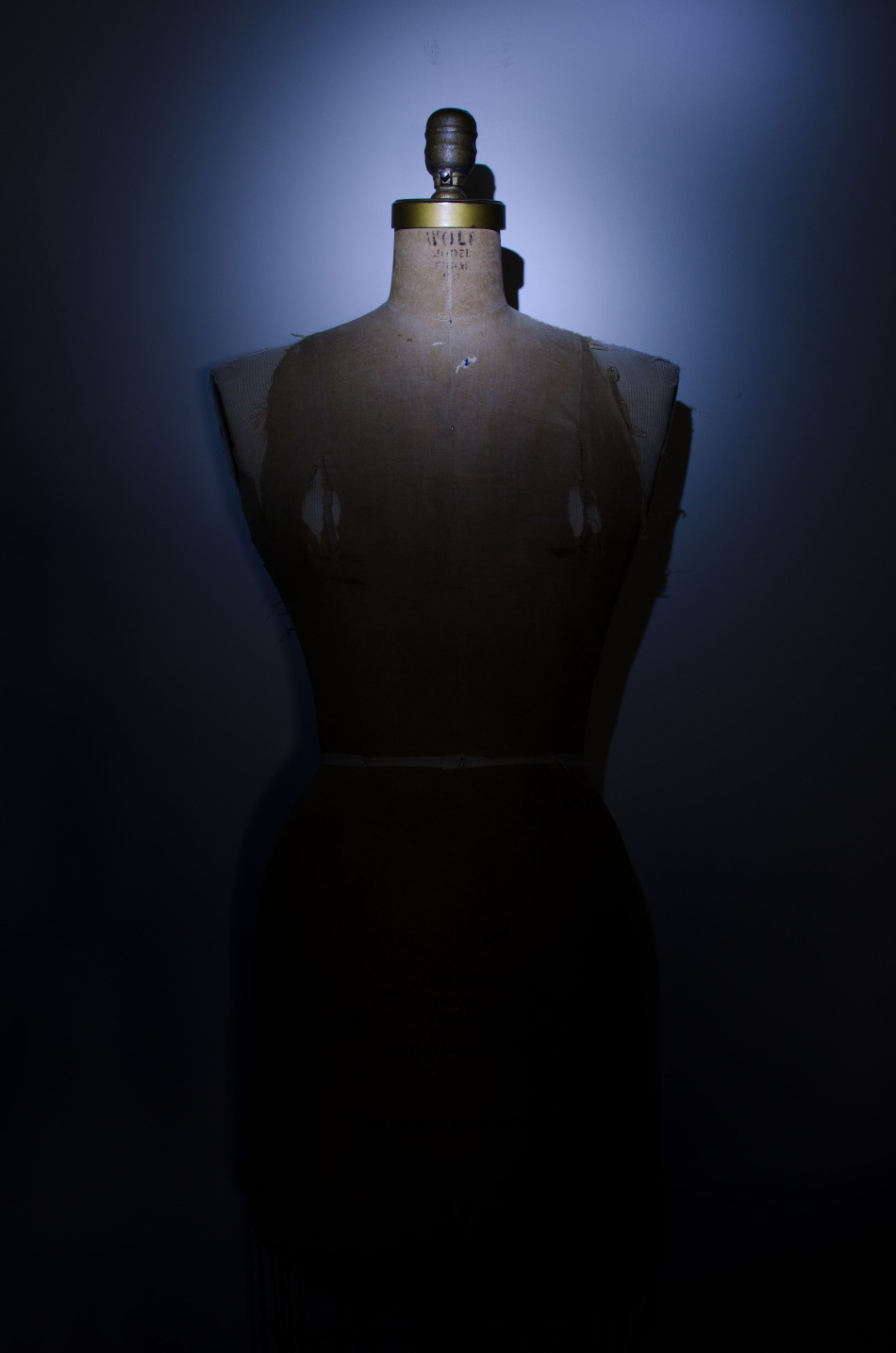 light painting photography - vintage wolf dress form