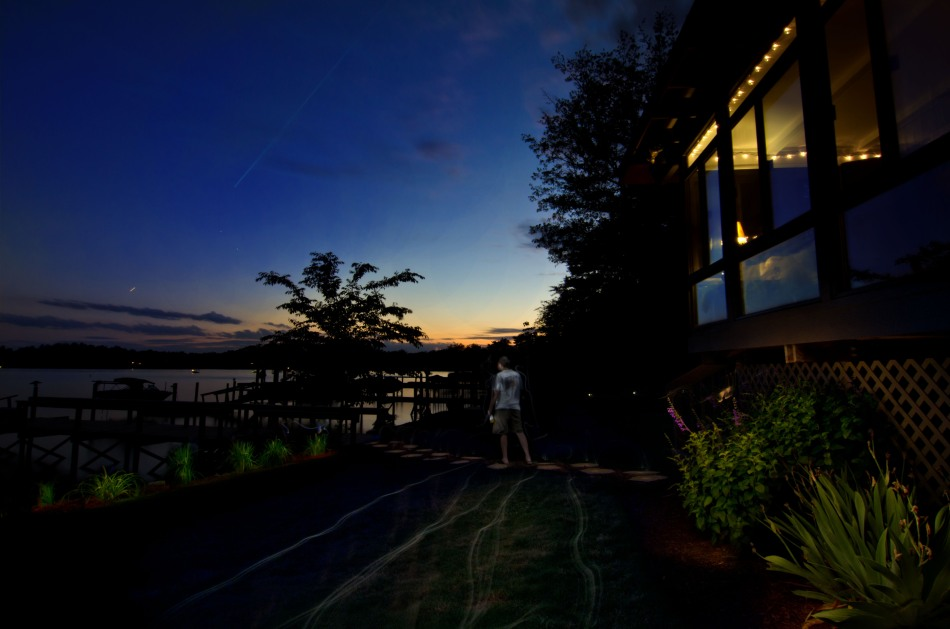 light painting photography - evening at the lake